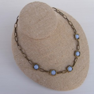 Antique Brass And Periwinkle Squares Necklace