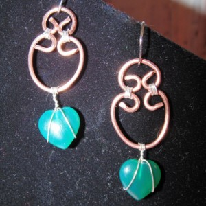 Drop Earrings, Wire Wrapped, Natural Copper and Sterling Silver with Agate Hearts