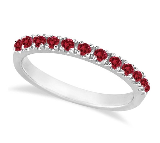 Garnet Ring Half Eternity Band January Birthstone 925 Sterling Silver Gemstone Stackable Wedding Womens Gift For Her Valentines Day
