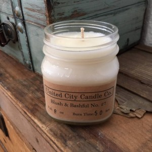 Blush & Bashful No. 27 --Shiny leaves and elegant white flowers adorn the magnolia. 100% soy candle. United City Candle Co.Made in USA