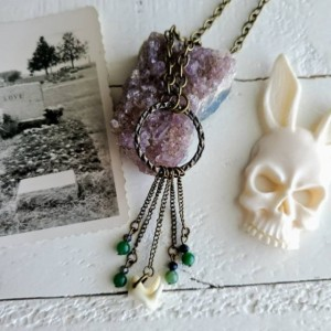 Wunderland jewelry// Coyote teeth necklace// jasper // one of a kind
