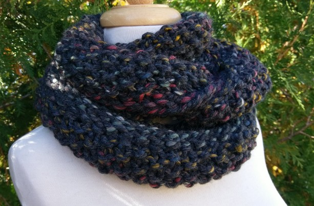 Charcoal Gray Wool Infinity Scarf with Pops of Color