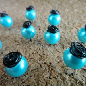 x10 Rose Topped Pearl Push Pins Tacks in Light Blue