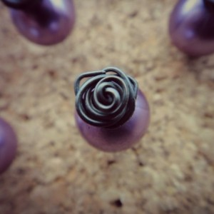 x10 Rose Topped Pearl Push Pins Tacks in Lavender