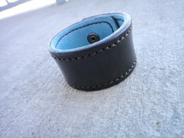 Distressed, Handstitched Dark Brown Black Leather Cuff