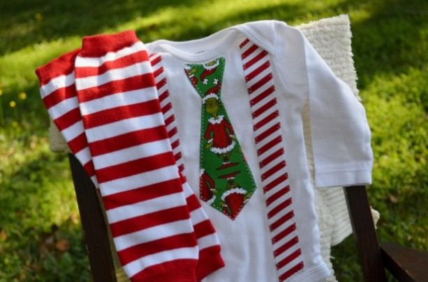 Dr. Suess Grinch Christmas Onesie Tie with Suspenders