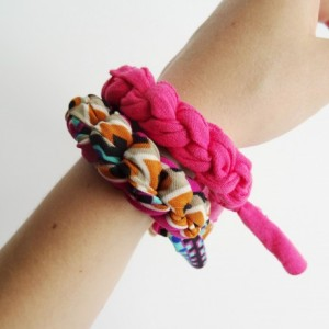 Pink Accented Aztec Chunky Bracelet Stack Set