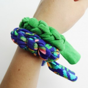 Green, Turquoise, Navy,  and PinkPatterned Chunky Bracelet Stack Set