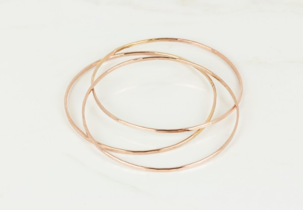 Set Of Three 14k Rose Gold Filled Bangles Thin Bangles