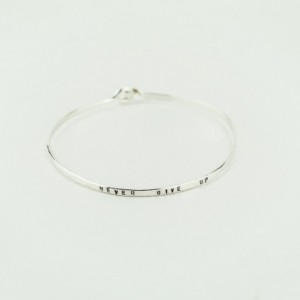 Sterling Silver Hand Stamped Bangle, Personalized Jewelry, Never Give Up Bracelet