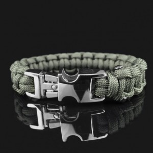 Army Green Designer Unisex Braided Survival Mil-Spec Type III 550 Parachute Cord with Full Metal Alloy Quick Detach Buckle (Gun Metal)