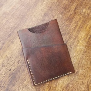 Leather Card Wallet Dark brown with cream colored thread.