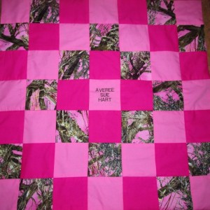 Brand New Handmade Pink MOSSY OAK Camo Baby Quilt  (Embroidered Name Added Free)