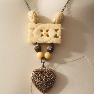 OOAK Vintage Carved Bone Flower Heart Pendant  Sautoir Necklace