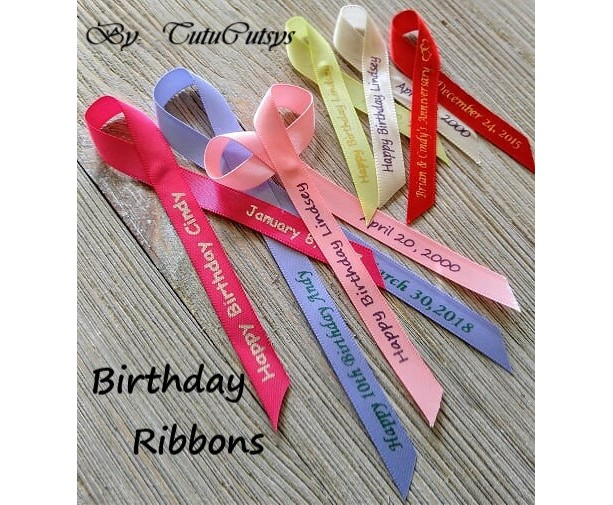 10 Birthday Personalized Ribbons 3/8 inches wide  (unassembled)