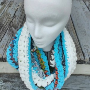 Long infinity scarf, Women's scarf, Crocheted from recycled fibers, Multicolored, Sustainable accessories, Soft and snuggly, OOAK