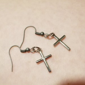 Silver cross hook earrings