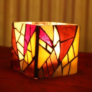 Small Purple Stained Glass Candle Holder/Vase, Purple Mosaic Candle Holder