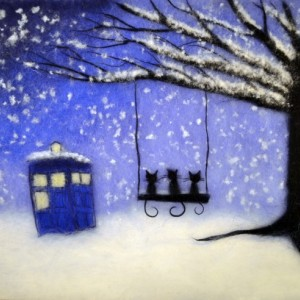 """Wool Painting """"Cats and Tardis"""""""