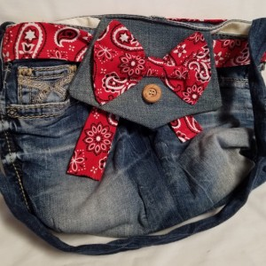 Red Paisley-Eco-Friendly-Reclaimed Denim Jean Shoulder Handbag/Purse/Messenger Handbag, Fully Lined, a great gift for women, ready to ship