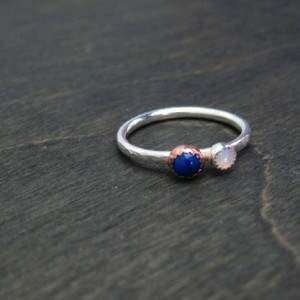 Ready to Ship  Size 5.5 Mixed Metal Recycled Sterling Silver and Copper Australian Opal and Lapis Lazuli Ring