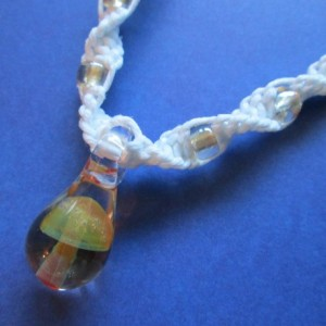 Handmade White Hemp Necklace with Awesome Hand Blown Glass Beige Mushroom Pendant and Matching Glass Beads
