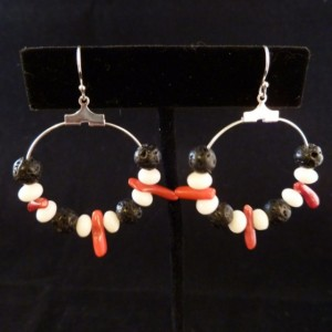 Red Branch Coral, White Coral Beads, and Black Lava Bead Hoop Earrings