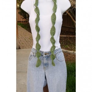 Solid Olive Green Skinny SUMMER SCARF with Twists Small 100% Cotton Spiral Narrow Lightweight Women's Thin Crochet Knit, Ships in 3 Business Days