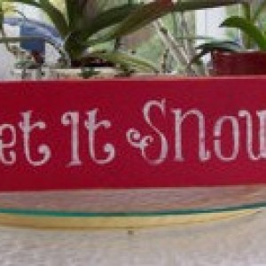 Wood Let It Snow sign hand painted, rustic wood sign, distressed folk art Christmas home décor