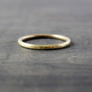 Hand Forged 14K Yellow Gold 1.5mm Ring COMFORT FIT Dapple Wedding Band