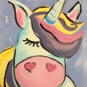 White Unicorn with Purple, Pink & Yellow Mane Painting on Canvas-free shipping