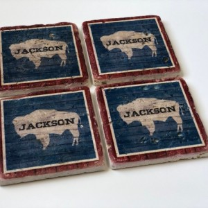 Jackson Wyoming Barnwood-Look, Wyoming State Flag, Natural Stone Coasters Set of 4 with Full Cork Bottom