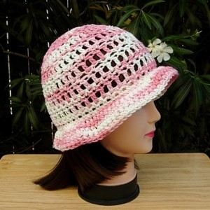 Light Pink & Off White Summer Beach Sun Hat, 100% Cotton Lacy Women's Crochet Knit Striped Beanie, Bucket Cap with Brim, Ready to Ship in 3 Days