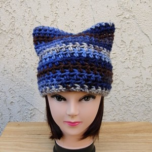 Women's Blue, Dark Brown, Off White Striped Kitty Cat Hat with Ears, Soft Handmade Crochet Knit Warm Winter Beanie, Pussy Hat, Ready to Ship in 3 Days