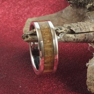 size 7 pinecone wood ring, stainless steel core with stainless steel edges, 7mm band width