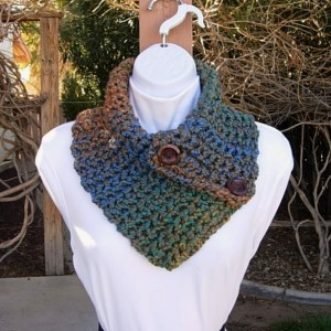 Women's Winter Colorful Crochet Knit Neck Warmer Scarf with Two Large Wood Buttons, Thick Soft Blue Rust Orange Teal Green Taupe Brown Buttoned Cowl, Ready to Ship in 3 Days