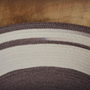 coiled rope basket, natural white & brown