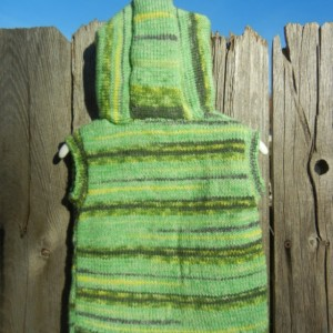 Wool Knit Hoodie, Hand  Knit Vest with Hood, Sleeveless Hoodie, Camouflage Green Vest, Hoodie for Toddler 12 to 18 Months Old, Ready To Ship