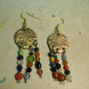 Hammered penny earrings