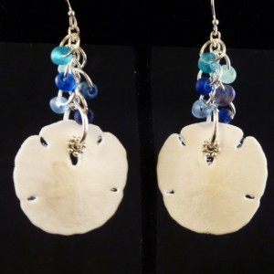 Sand Dollar with Blue Sea Glass Cluster Earrings