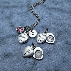 Personalized Sliding Locket Style Agnus Dei Necklace. Lamb of God Necklace