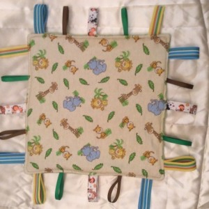 Baby Tag Security Blanket Jungle Print with Minky Ultrasoft fabric on back