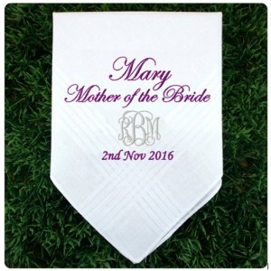 Embroidered Mother of the Bride Daddy Wedding Handkerchief, Customized personalised personalized Hankies Wedding Gift