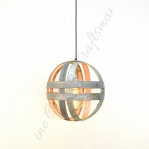 ATOM Collection - Maruta - Double Ring Pendant Light / made from salvaged California wine barrels -100% Recycled!