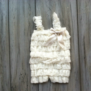 Ivory Lace Romper for Baby Girls