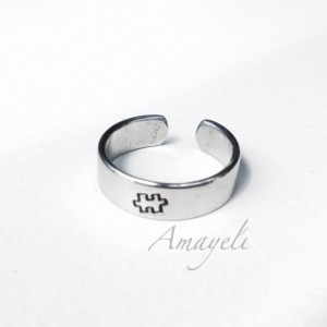 Puzzle piece or choose any stamp simple cuff hand stamped ring autism awareness