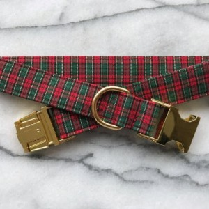 Plaid Christmas/Evergreen Dog Collar with Gold Metal Buckle