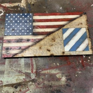 Wood Split US Flag and 3rd Inf Division