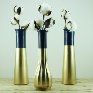 Wedding Vase Collection Set of 6 Navy Blue Gold Dipped - Glam Wedding - Reception Table - Centerpieces - Bud Vase Set - Striped Vases