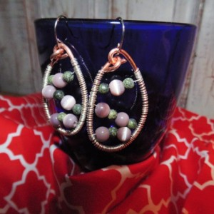Drop Earrings, Wire Wrapped, Copper and Sterling Silver with Lavender Cat's Eye and Russian Serpentine